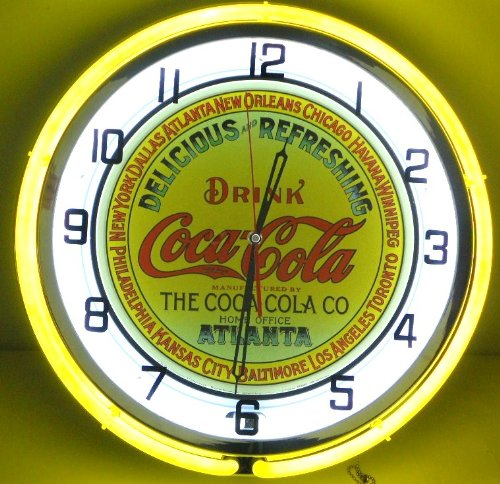 """Coca Cola Keg Label 18"""" Double Neon Lighted Clock Yellow front-79535"""