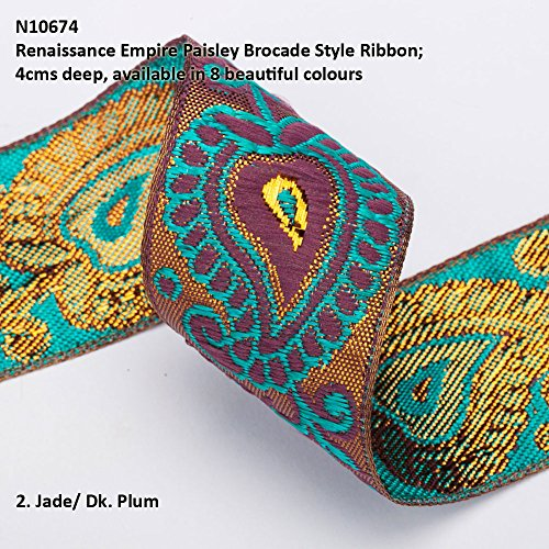 Neotrims Wide Sari Decorative Shimmer Ribbon Paisley Brocade 6cms Deep. Traditional 9 meters Reel for Sari Border. Also for Salwar Kameez, Crafts & Home Interior Décor. 4 cms Deep Border, Vibrant Bright with Metallic Gold Two Tone Base,8 Stunning colours! Buy by the 3 meter or 1 reel of 9 meters Sari length. Bargain Price for 1 Reel!