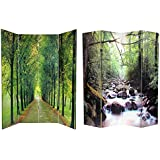 Oriental Furniture 6 ft. Tall Double Sided Path of Life Canvas Room Divider