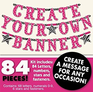 Create Your Own Banner Kit Any Message Birthday Party 84 pieces Zebra Hot Pink by AMSCAN *