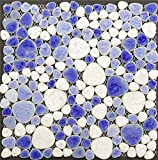 Milk White and Blue Heart Shaped Porcelain Pebble Tile Kitchen Backsplash Mosaic Tile Bathroom Wall Tile Fireplace Tile