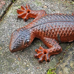 Rusty Finish Effect Wall Mountable Cast Iron Lizard Garden Ornament from Gardens2You