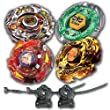 Beyblade Combo 4 Pack Shinobi Saramanda + Meteo L-Drago Rush Red + L-Drago Gold Destructor + Flame Libra Metal Fusion 4D with 2x LL2 Launcher and Rip Cord // SHIPPED AND SOLD FROM US