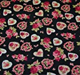 Hearts and Roses Cotton Fabric - Fat Quarter