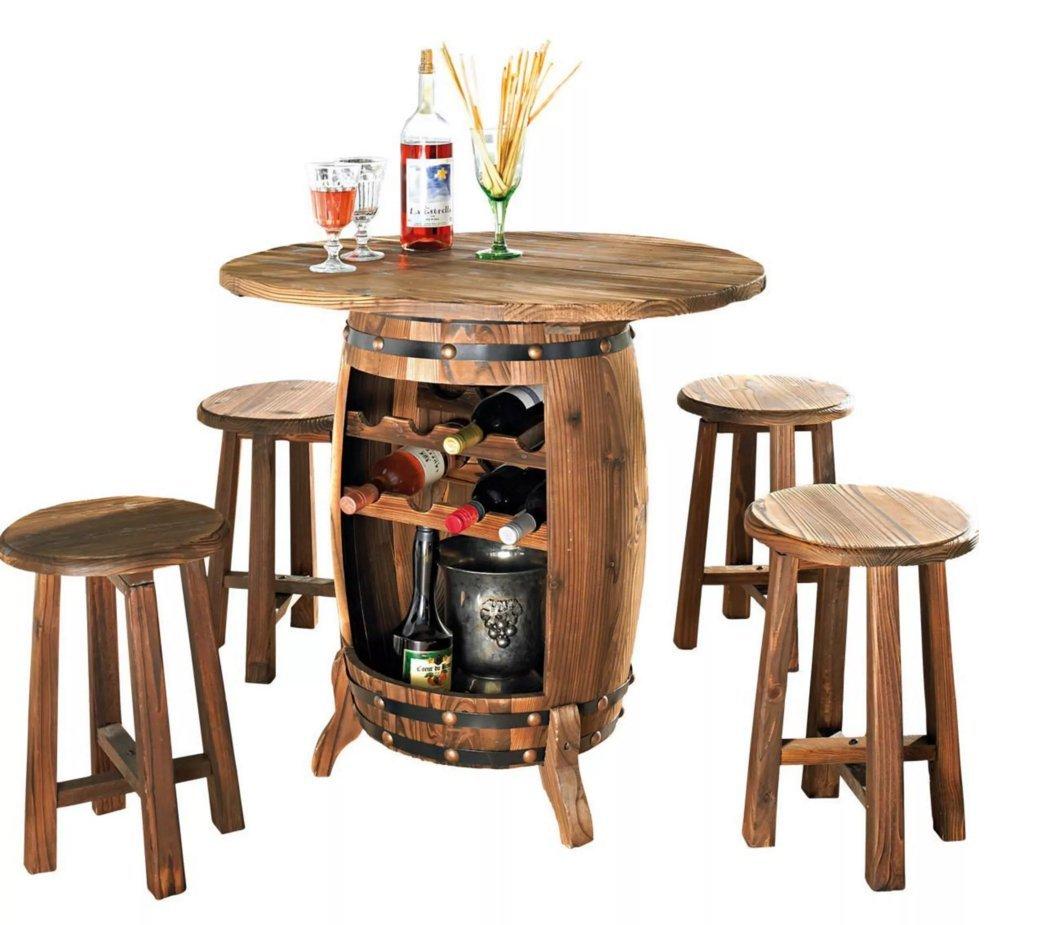 Gartenmöbel-Set Vino Tisch mit Hocker Weinfass Gartenmöbel 82×80 cm B-WARE 5678 jetzt kaufen