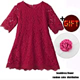 Baby Girl Flower Dresses White Princess Birthday Wedding Party Dress for Kids 1T Lace Flowy Knee Length Pageant Flower Tutu Tulle Spring Dress Formal Proms (Wine Red 100) (Color: Wine Red, Tamaño: 1)