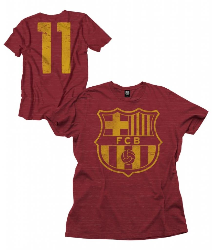 Spain FC Barcelona #11 Futbol Soccer Men's Distressed Logo Crew Neck T-shirt Maroon reigning champ gym logo crew neck black