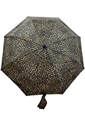 Totes Womens Compact Folding Umbrella - Easy Push Button Auto Open