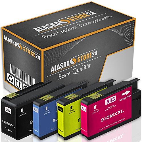 Alaskaprint 4er-Set Kompatible Druckerpatronen Tintenpatronen Ersatz für Hp 932 XL + 933 XL HP CN053AE-56AE (Black , Blau , Rot , Yellow) BatikSerie