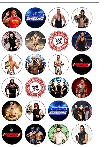 24-precut-40mm-round-wwe-wrestling-raw-smackdown-edible-wafer-paper-cake-toppers