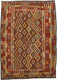 eCarpetGallery Hand woven Kashkoli Kilim 8-Feet 1-Inch by 11-Feet 6-Inch Wool Kilim, Dark Dull Yellow, Dark Red