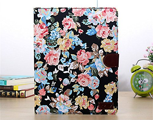 Borch Fashion Luxury Multi-Function Protective Floral Series Light-Weight Folding Flip Smart Case Cover For Ipad Air (Black)