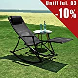 SoBuy Outdoor Indoor Relaxing Rocking Chair with Footrest, Folding Textoline Sun Lounger Recliner, OGS18-SCH, Black