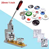 Button Maker 25mm 1 inch Button Maker Machine + 300pcs Button Badge Maker Aluminum Frame Free Button Parts and Circle Cutter (25mm 1 inch) (Tamaño: 25mm 1 inch)