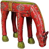 Exotic India Decorated Horse Table - Color On Wood