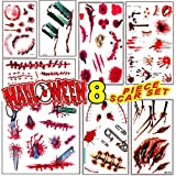 Body Scar Tattoo Temporary Stickers for Cos Play, Partys or Halloween Family Mega Pack Set of 8 sheet