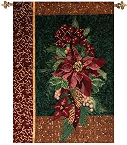 "Winter Poinsettia with Christmas Pine Cotton Tapestry Wall Hanging 36"" x 26"""
