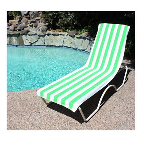 J & M Home Fashions Lounge Chair Beach Towel with Fitted Pocket 26 Inch