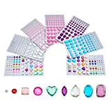 PandaHall Elite 7 Sheets Self-adhesive Rhinestone Sticker Jewel Crystal Gem Stickers for DIY Nail Art, Face, Makeup, Mobile Phone Decoration, Carnival, Crafts, Scrapbooking Embellishments (Color: Mixed Colors-7 Sheets, Tamaño: Width 3~12mm)