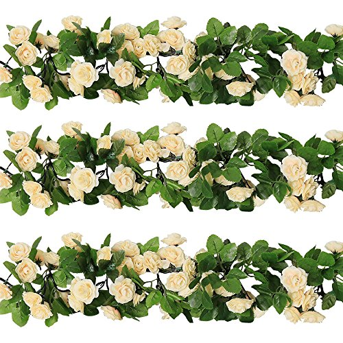 Rose Garland Artificial Rose Vine with Green Leaves 63 Inch Pack of 3 Flower Garland For Home Wedding Decor(champagne)