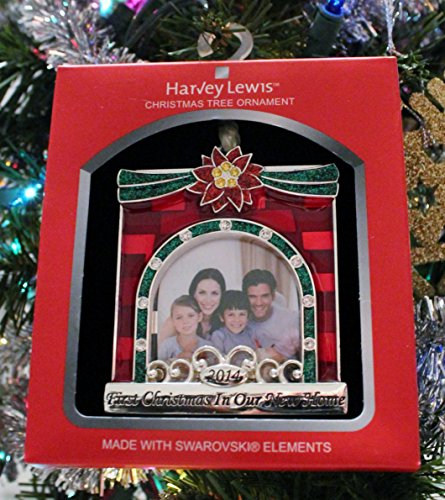 "Alternate 2014 ""First Christmas in Our New Home"" Frame, Harvey LewisTM Silver-plated Ornament – Made with 15 Swarovski® Element"