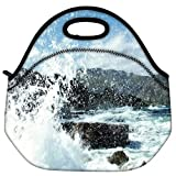 Snoogg Water Waves Hitting The Shore Travel Outdoor Carry Lunch Bag Picnic Tote Box Container Zip Out Removable Carry Lunchbox Handle Tote Lunch Bag Food Bag For School Work Office