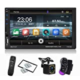 CarThree Car Radio Touch Screen 7 Inch Mirror Link Double Din Car Stereo with FM Radio Steering Wheel Backup Camera Bluetooth Hands Free (Color: black)