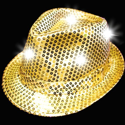 Supreme Party & Novelties LED Fedora, Gold - 1