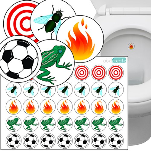 Toilet Thingies - Variety Pack of 35 Toilet Training Stickers. Superior Quality Transparent Plastic Label Material.