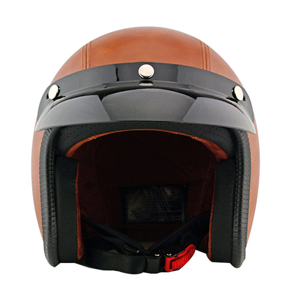 Tpfocus Fashion 3/4 Open Face Motorcycle Leather Vintage Helmet, Brown L 1