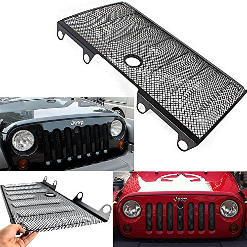 Black Mesh Hood Grille Screen with Lock Hole for Jeep Wrangler JK