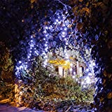 Solar LED String Lights, 39.1ft, 100 Led Cold White Flower, 9+ Hours Illumination, Waterproof, Outdoor Solar Fairy Lights, Christmas Lights, Ambiance Lights, Party Wedding Decorations - Cold White
