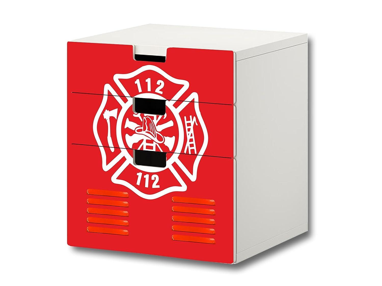 """""""Feuerwehr"""" Möbelsticker / Aufkleber – S3K21 – passend für die Kinderzimmer Kommode mit 3 Fächern / Schubladen STUVA von IKEA – Bestehend aus 3 passgenauen Möbelfolien (Möbel nicht inklusive) jetzt kaufen"""