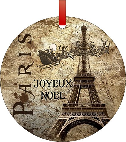Vintage Santa and Sleigh Riding Over the Eiffel Tower-Joyeux Noel (Merry Christmas in French)-Round Aluminum Christmas Ornament with a Red Satin Ribbon/Holiday Hanging Tree Ornament/Double-Sided Decoration/Great Unisex Holiday Gift!