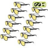 MAGID Y50BKAFA Iconic Y50 Design Series Safety Glasses with Side Shields | ANSI Z87+ Performance, Scratch & Fog Resistant, Reduce Eye Strain & Fatigue, Cloth Case Included, Amber Lens (12 Pair) (Color: Amber Lens, Tamaño: 12 Pair)