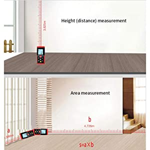 Laser Measuring Tape,262ft Laser Measurement Tool Device,Digital Laser Distance Meter with Backlit LCD and Pythagorean Mode, Measure Distance, Angle,Area and Volume (Tamaño: 262ft/80m)