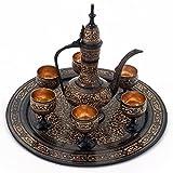 Jaipur Raga Antique Royal Wine Set Black Metal Handicraft Metal Wine Set