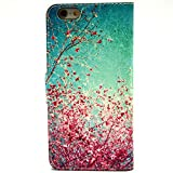 iPhone 6 Plus Case, Philoh Apple iPhone 6 Plus(5.5 inch) FUNMAL(TM) Fashion Cherry blossoms Pattern Wallet Stand Case Cover for with PU Leather and Card Slots