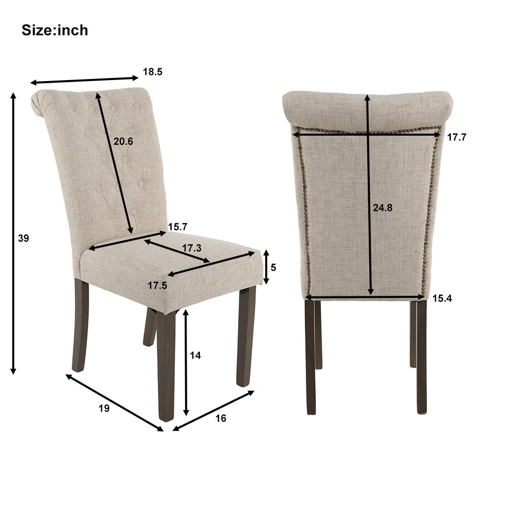Merax Luxurious Fabric Dining Chairs with Solid Wood Legs Set of 2 (Beige) 1