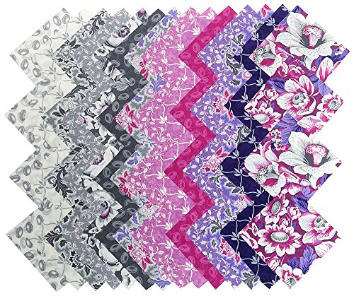 Skipping Stones Studio LAVENDER GRAY Precut 5-inch Cotton Fabric Quilting Squares Charm Pack Assortment Clothworks Floral