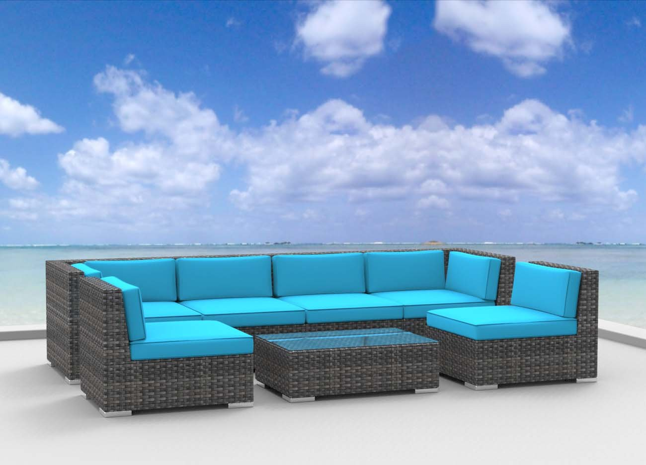 www.urbanfurnishing.net Urban Furnishing - OAHU 7pc Modern Outdoor Backyard Wicker Rattan Patio Furniture Sofa Sectional Couch Set - Sea Blue at Sears.com