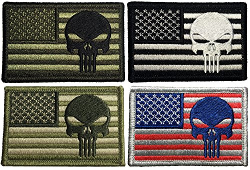 "Cheap Set 4 of Tactical USA Flag with Punisher Patch 2""x3"" Velcro Backing - Black , OD (Ol..."