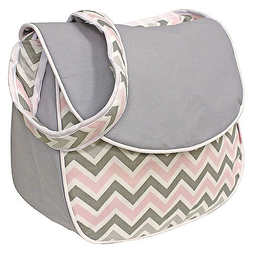 Hoohobbers Messenger Diaper Bag, Chevron Pink