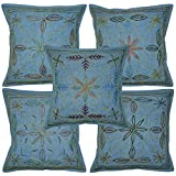 Lalhaveli Indian Designer Embroidery & Zari Work Cotton Cushion Cover 16 X 16 Inches Blue
