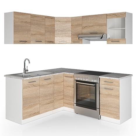 Winkelkuche Kuchenzeile 190 x 170 cm - Sonoma Eiche - Kuche L-Form Kuchenblock Einbaukuche Komplettkuche Eckkuche - frei kombinierbare Möbel-Module