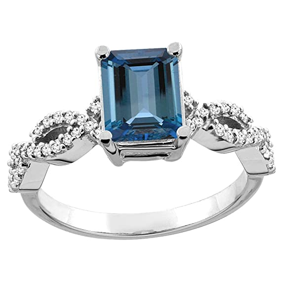 Revoni 14ct White/Yellow Gold Natural London Blue Topaz Eternity Ring Octagon 9x7mm Diamond Accent