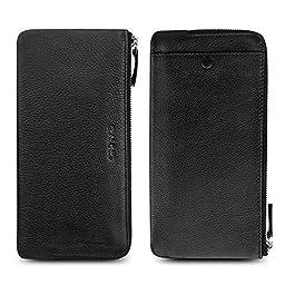 QIALINO Women\'s Long Zipper Genuine Leather Card Wallet Case/ Purse -Black