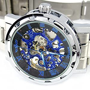 YouYouPifa Skeleton Dial Stainless Steel Strap Hand-Wind Mechanical Men's Watch (Black & Blue)