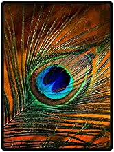 Custom Beautiful Peacock Feathers BedSofa Soft Throw Fleece Blanket 58quotx80quot