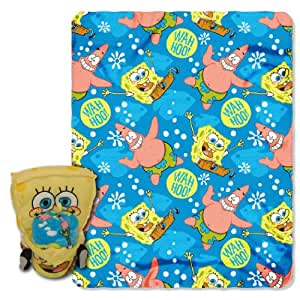 Spongebob Squarepants Throw And Pillow Set : Nickelodeon, Spongebob Squarepants, Wahoo Hug 40-Inch-by-50-Inch Fleece Blanket with Character ...